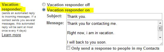 gmail-vacation הגדרת דואר