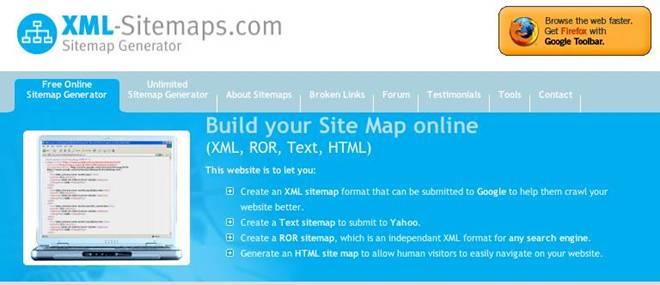 יצירת sitemap