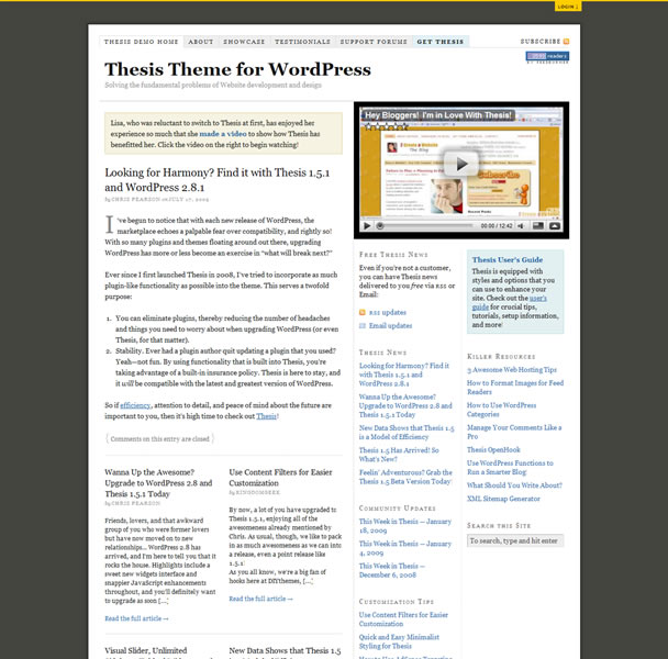 thesis wp theme demo The thesis premium wordpress theme from diy themes just got even more awesome with etc allread more thesis wordpress theme version 16 demo & release page.