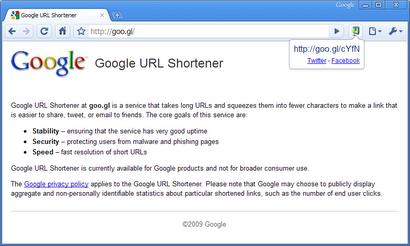 שירות קיצורי כתובות של גוגל - Goo.gl
