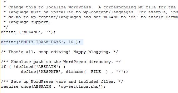 בניית אתרים בוורדפרס - הגדרת פקודה ב - Config.php