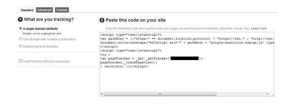 הכנסת קוד של גוגל אנליטיקס לאתר