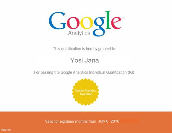 יוסי ג'אנה - מוסמך גוגל אנליטיקס