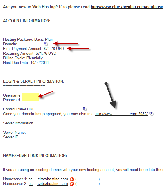 אחסון אתרים - פרטי התחברות לחשבון