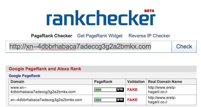 בדיקת דירוג ה-Pagerank