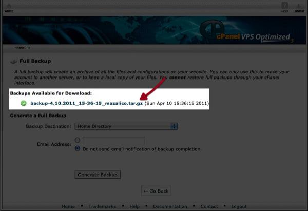 הורדת גיבוי המלא של האתר והחשבון מתוך Cpanel