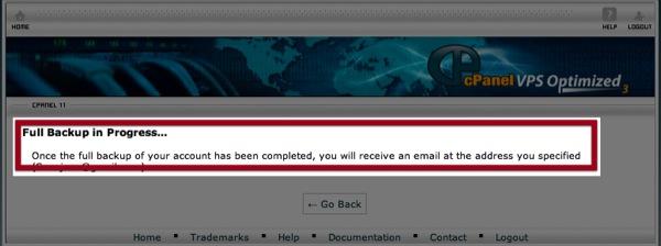 המתן לקבל דואר עם הודעה שקובץ גיבוי מוכן להורדה
