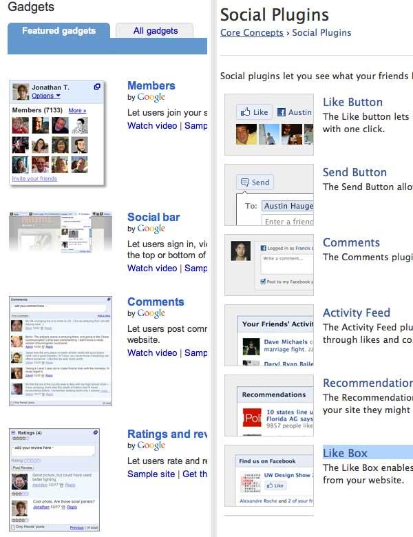 תוספי פייסבוק נגד תוספי גוגל