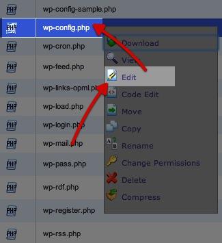 עריכת קובץ wp-config