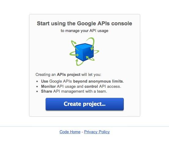 פתיחת פרויקט ב- Google Apis Consol